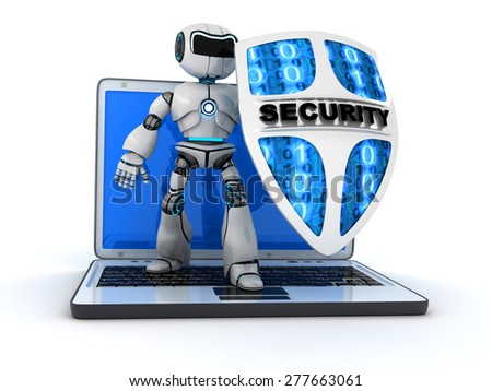 Abstract robot and shield (done in 3d)  - stock photo