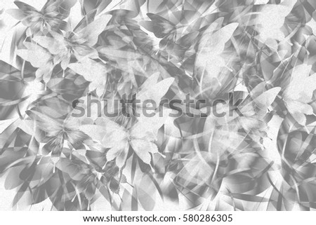 Abstract romantic texture background grey and white tone colour butterfly