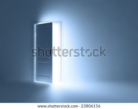 Abstract room with open doors - stock photo