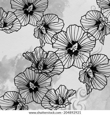 abstract rose of sharon art design element on light gray watercolor background, artsy lines in petals, flower design hand drawn art in black ink, flower background pen and ink drawing, monochrome tone - stock photo