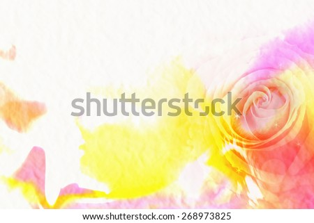 abstract rose on mulberry paper texture. water color style ,filter color. - stock photo