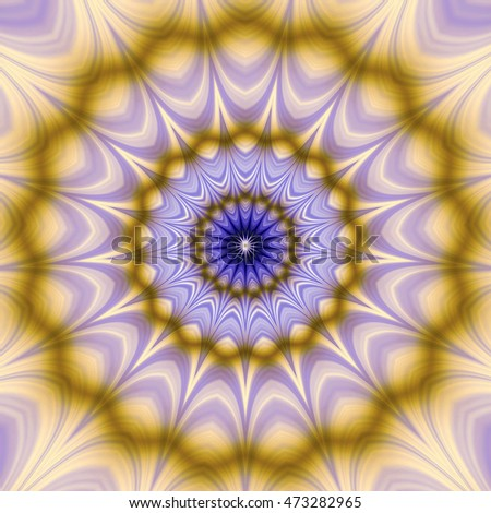 Abstract rotating object with stars. Blue, gold and violet psychedelic circular glowing  object with blurred wavy layers
