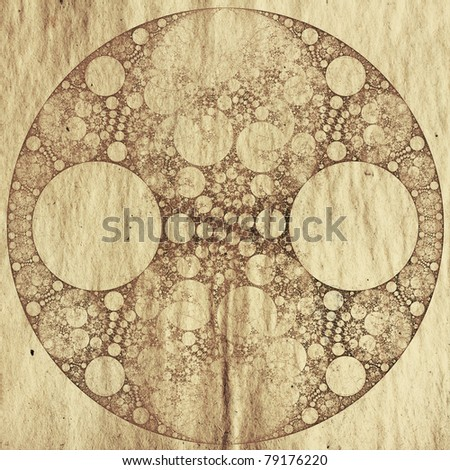 abstract round fractal on old dirty paper - stock photo