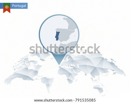 World map magnifying on portugal blue stock vector 407778043 abstract rounded world map with pinned detailed portugal map raster copy gumiabroncs Gallery