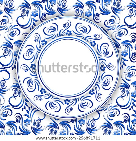 Abstract Russian Gzhel Round Frame in Blue, Copyspace - stock photo