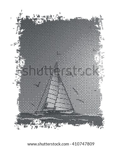 Abstract sailboat,seagull and sea.Suitable as label on a T-shirt.Halftone