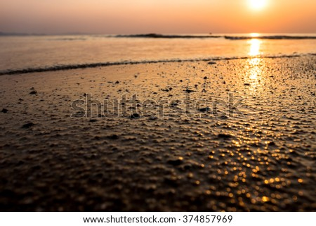 abstract sand beach background sunset at Pattaya in Thailand - stock photo