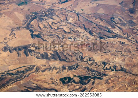 Abstract sand terraced background pattern, problems with erosion  - stock photo