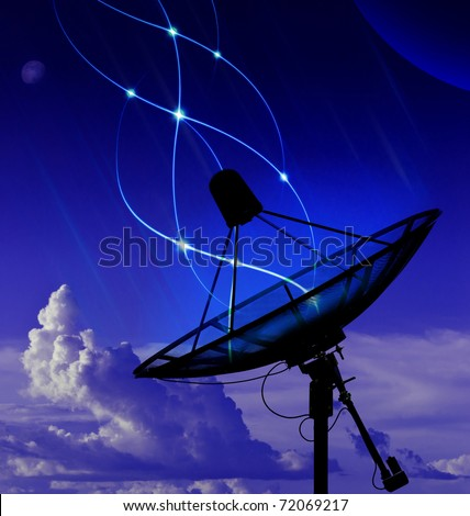 Abstract satellite dish transmission data - stock photo