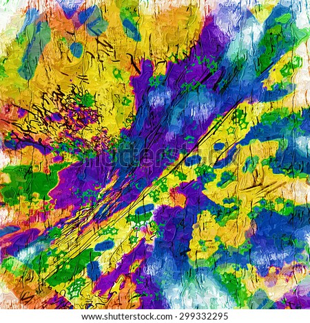Abstract saturated full color 2D picture with noise and jagged lines - stock photo
