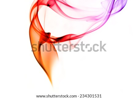 Abstract scarlet and purple smoke on a white background. - stock photo