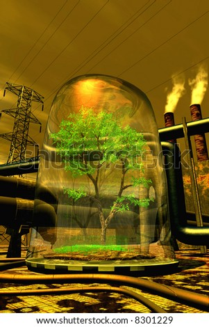 abstract scene of the ecological catastrophe - stock photo