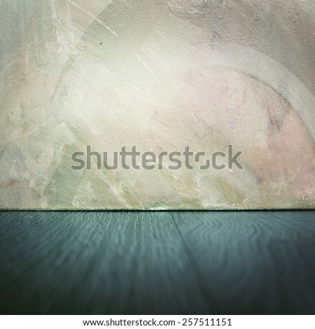 Abstract scene - painting on a wooden floor - stock photo