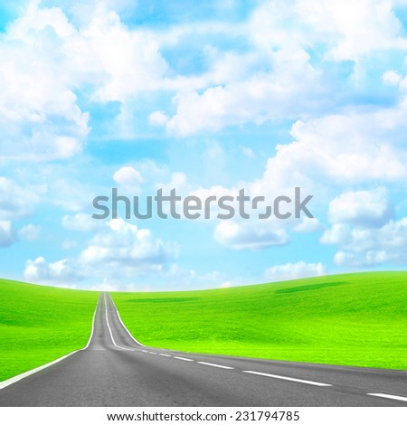 abstract scene road an the glow background - stock photo