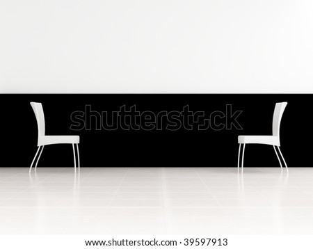 Abstract scene - Two White Chair to face a blank wall - stock photo