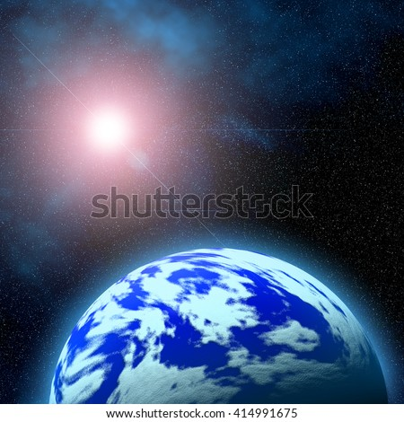 Abstract scene with planets and galaxy of deep space - stock photo