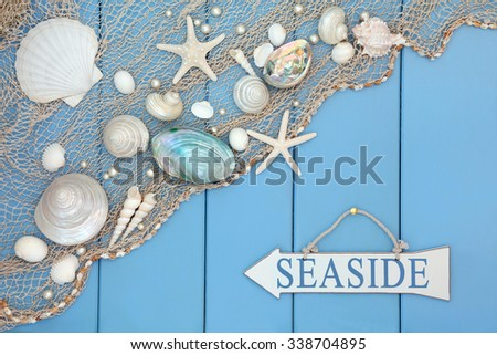 Abstract scene with seaside sign, shells, pearls and fishing net over wooden blue background. - stock photo