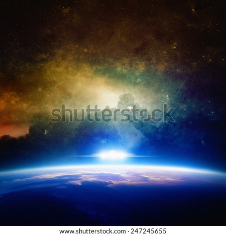 Abstract sci-fi background - glowing planet, nebula and stars in space, ufo approaches planet. Elements of this image furnished by NASA nasa - stock photo