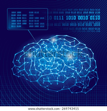 Abstract science background with brain. . CMYK. Organized by layers. Global colors. Gradients used. - stock photo