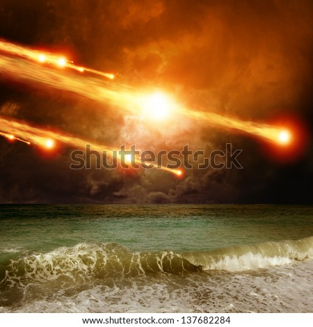 Abstract scientific background - asteroid, meteorite impact, stormy sea, ocean