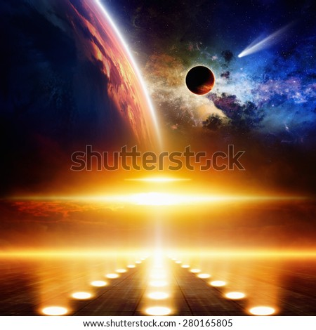 Abstract scientific background - comet approaches glowing planet, nebula and stars in space, flying ufo with bright spotlights. Elements of this image furnished by NASA nasa.gov - stock photo