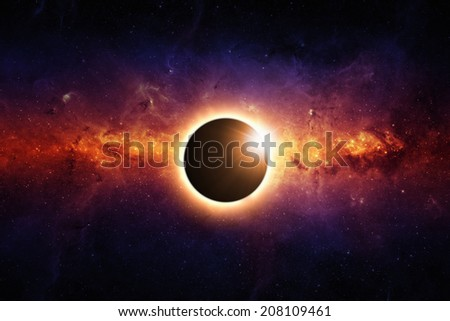 Abstract scientific background - full sun eclipse, red galaxy in space. Elements of this image furnished by NASA/JPL-Caltech - stock photo