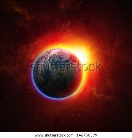 Abstract scientific background - glowing planet earth in space, red sun, global warming, climate change. Elements of this image furnished by NASA - stock photo
