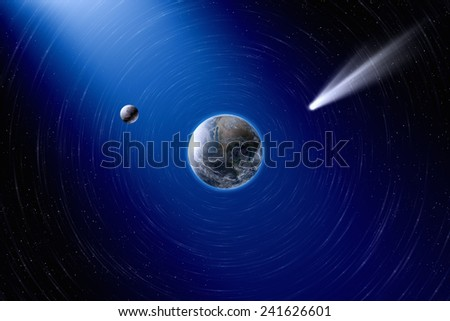 Abstract scientific background - planet Earth and moon in space, comet approaches planet Earth. Elements of this image furnished by NASA visibleearth.nasa.gov - stock photo