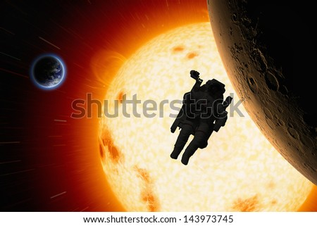 Abstract scientific background - planets Earth and Mars in space, astronaut in open space, bright red sun. Elements of this image furnished by NASA - stock photo
