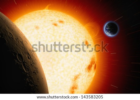 Abstract scientific background - planets Earth and Mars in space, bright red sun. Elements of this image furnished by NASA/JPL-Caltech - stock photo