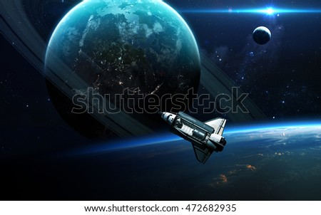 Abstract scientific background - planets in space, nebula and stars. Elements of this image furnished by NASA