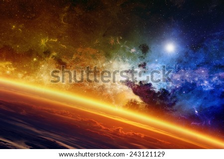 Abstract scientific background - red glowing planet, nebula and stars in space. Elements of this image furnished by NASA nasa.gov - stock photo