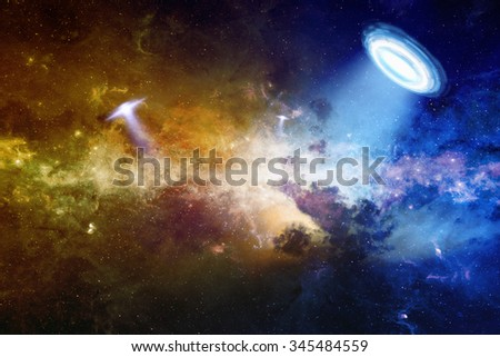 Abstract scientific background - ufo in deep space, extraterrestrial intelligence; glowing mysterious universe. Elements of this image furnished by NASA nasa.gov - stock photo