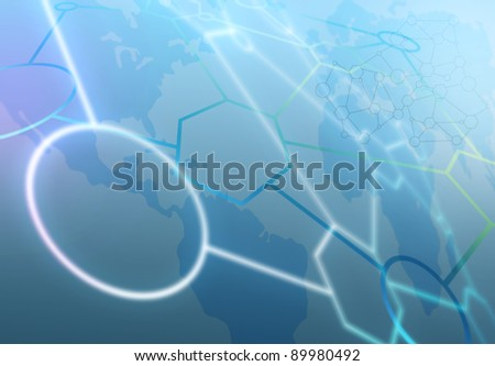 abstract scientific illustration with world map in the background