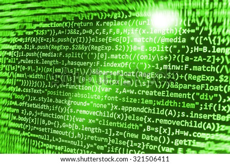 Abstract screen digital abstract programmer background bits matrix IT business laptop developer computer program digital . Shallow DOF, selective focus effect. Code text written and created by myself - stock photo