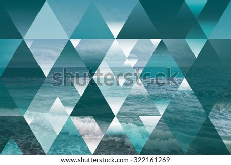 abstract sea geometric background with triangles; polygonal cloudscape backdrop; water, waves, op art. reality is an illusion. turquoise wallpaper - stock photo