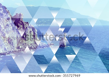 Abstract sea geometric background with triangles, water waves and mountains. Op art. Reality is an illusion - stock photo