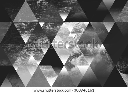 abstract sea geometric background with triangles, water waves. black and white  - stock photo