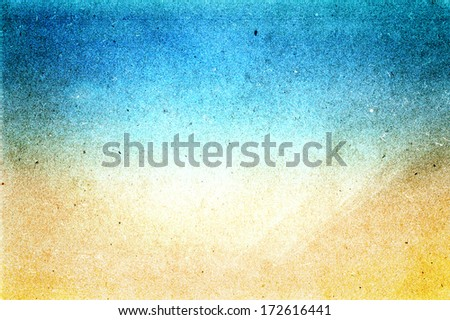 Abstract sea water  beach recycled paper texture, may use as background. Grunge texture with space for text or image background yellow sand and cyan blue colored. - stock photo