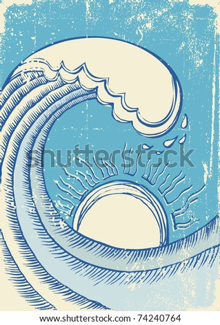 Abstract sea wave. Grunge illustration of sea.Raster - stock photo