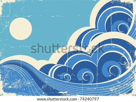 Abstract sea waves. Grunge illustration of sea landscape.Raster - stock photo