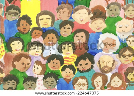 Abstract seamless background  multinational and intergenerational crowd of family and different people hand-drawn by paint - stock photo
