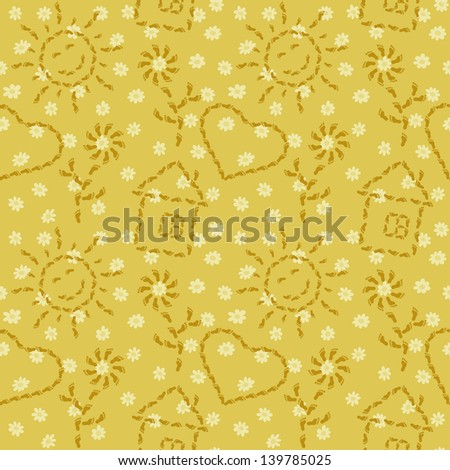 Abstract seamless background, pattern of smiling suns, flowers, houses and hearts from human footprints. - stock photo