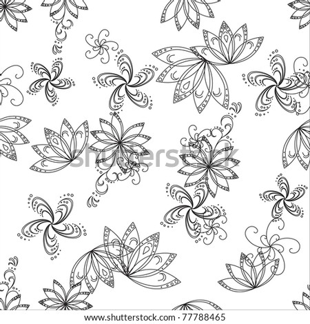 Abstract seamless background with graphic floral pattern, monochrome contours - stock photo