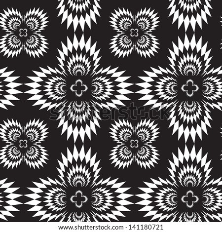 Abstract seamless black and white inverted pattern with cross explosions. Easy to change the colors. - stock photo