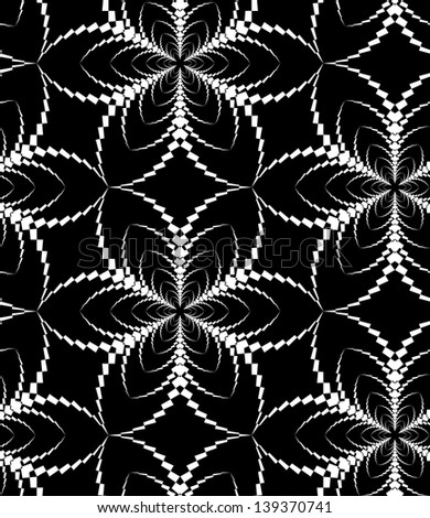 Abstract seamless black and white inverted pattern with stylized six flower - stock photo