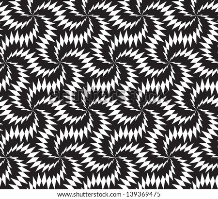 Abstract seamless black and white inverted pattern with stylized thorny six stars - stock photo