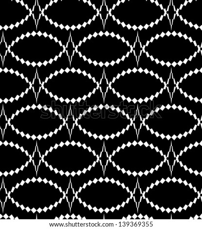 Abstract seamless black and white inverted pattern with thorny oval - stock photo