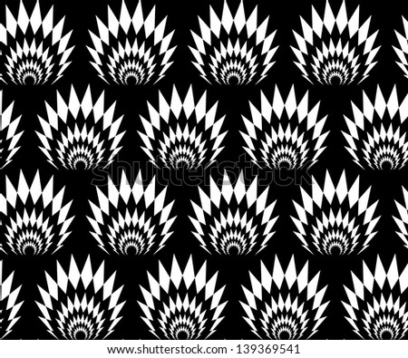 Abstract seamless black and white inverted thorny pattern with stylized explosions - stock photo