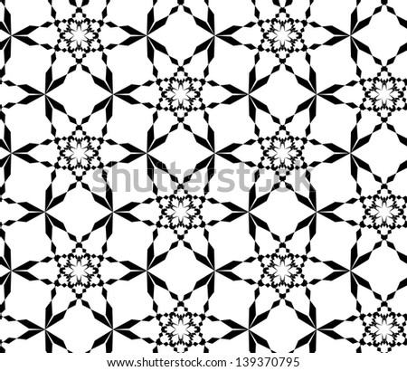 Abstract seamless black and white pattern with stylized snowflakes - stock photo